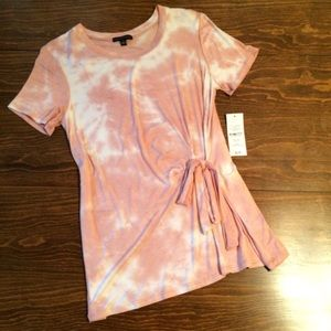 Dusty Pink and White Top with Side Waist Tie NWT